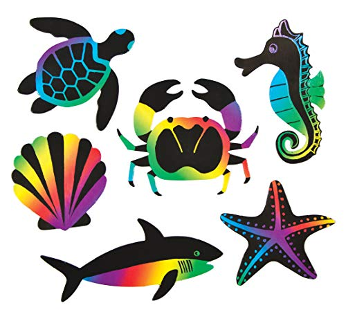 Baker Ross Sealife Scratch Art Fridge Magnet Kits for Children to Make Personalize and Display as Summer Crafts (Pack of 12)]()