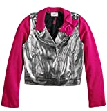 Jacket Girls Silver Moto Coat Short Waisted Bow Pink Glitzy Glam Sparkle (Small 7/8)