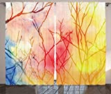 Ambesonne Tree of Life Decor Collection, Miraculous Tree Branches in A Colorful Fog Blurry Air Mystical Spiritual Nature Art, Living Room Bedroom Curtain 2 Panels Set, 108 X 84 Inches, Multi Review
