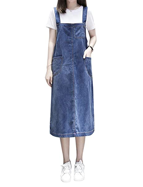 Aimeely Women Loose Casual Denim Overall Dress Suspender ...