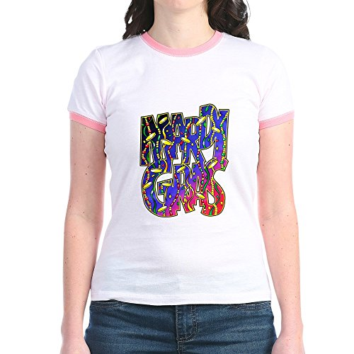 Royal Lion Jr. Ringer T-Shirt Mardi Gras Fat Tuesday with Beads - Pink/Salmon, (Fat Ringer T-shirt)