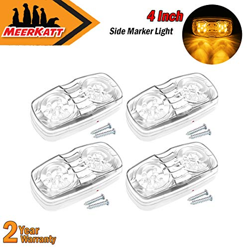 Bullseye Clear Thin - Meerkatt (Pack of 4) Clear Lens Amber 10 Diodes Double Bubble Bullseye Bulb Side Marker Lights Rectangle LED Clearance Lamp for Trailer Truck Car Lorry Coach ATV Jeep Universal 12V DC Dust Proof RO12