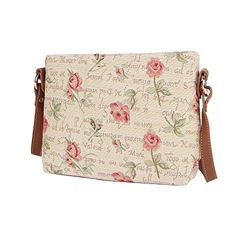 Borsetta donna Signare alla moda in tessuto stile arazzo a spalla borsa messenger a tracolla floreale Rosa rosa