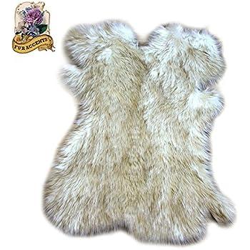 Amazon Com Arctic Fox Fur Rug Shag Sheepskin Pelt Rug