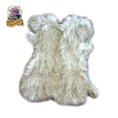 Arctic Fox Fur Rug Shag Sheepskin Pelt Rug Faux Flokati Pelt Suede Lined (2'x3') by Fur Accents