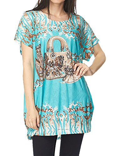 Belle Donne ITY Allover Shoes and Bag Print Tunic Top with (Bella Print Blouse)
