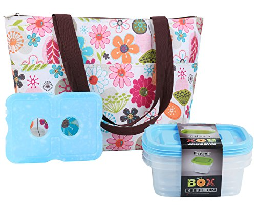 Lunch Bag Set by Dimayar Lunch Tote with Ice Pack and 3 Pieces of Lunch Box Sandwich Kit Food Storage Container,Full Zipper Closure Insulated Lunch Bag Ice Pack Lunch Box - Bag Lunch Velcro Lid