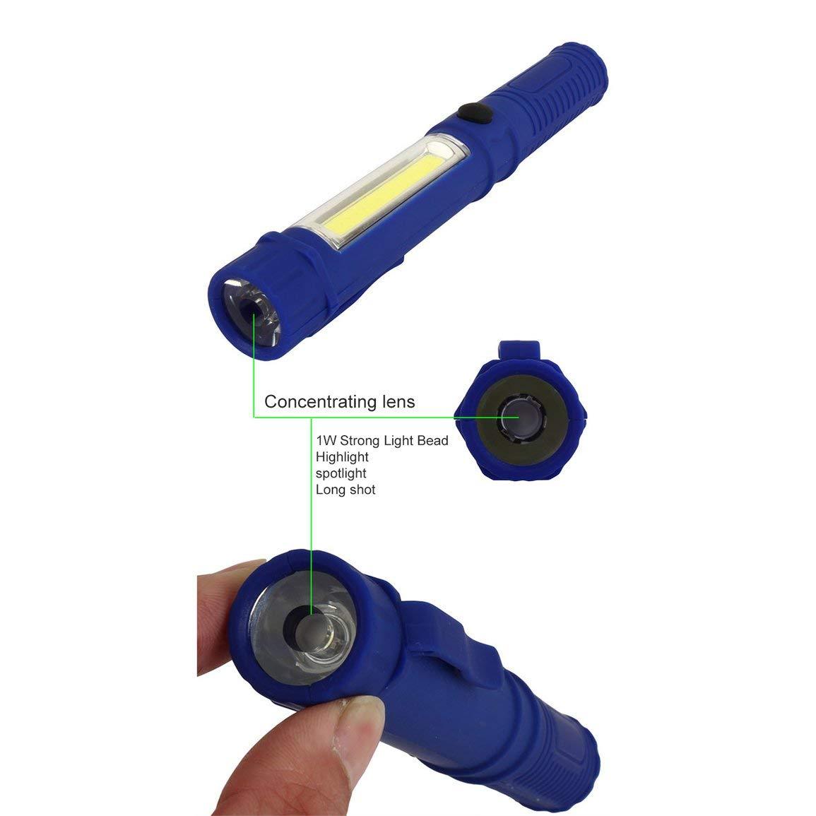 Antorcha de mano multifunci/ón de mano COB L/ámpara de luz LED Linterna de trabajo con im/án para reparaci/ón de emergencia en el hogar Color: azul