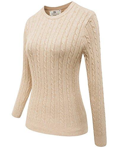 ver Knit Sweater Long Sleeve Crew Neck Winter Pullover Sweatshirt Beige L ()