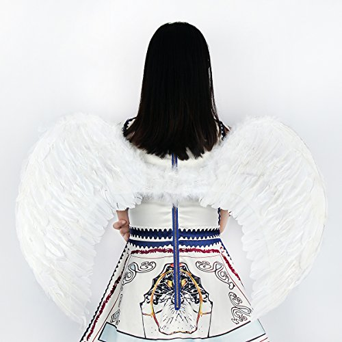 Woman In Labour Halloween Costume (Tongyin Angel Feather Wings Christmas Carol Costume Accessory + Free Head-ring (XL, White))