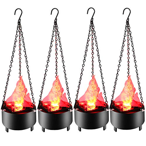 Fake Fire Flame Light, Hanging 3D Flickering Fire Flame Electronic LED Flame Night Light Prop Simulated Flame Lamp Prop for Halloween Christmas Indoor Party Decoration US Plug 4-Pack