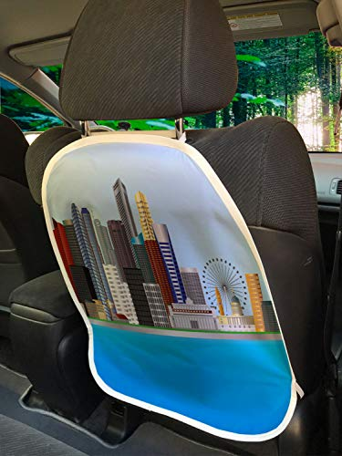 """Ambesonne Singapore Car Seat Protector Set of 2, Digitally Generated Illustration of Modern Urban Buildings Skyline and River, Universal Kick Mat for Dirt Mud & Scratches, 18"""" x 24"""", Multicolor"""