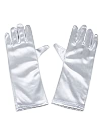 RUNHENG Stretchy Satin Child Size Long Gloves, 9 Inch. (White)