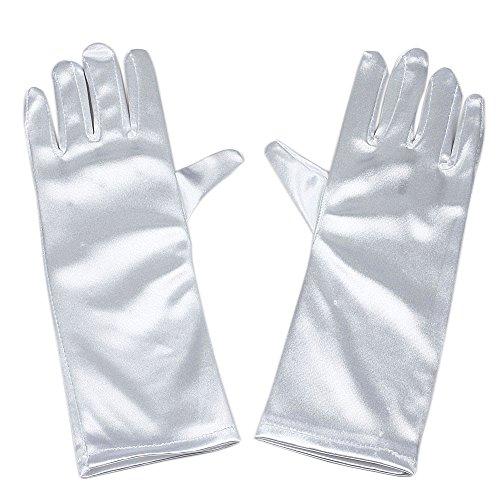 Long White Polyester Gloves (Satin Child Size 9.45 Inch Long Formal Gloves for Flower Girl (White))
