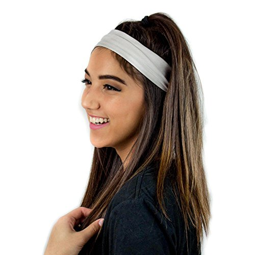 Everfan Silver Headband | Athletic Stretch Sweatband for Running Yoga and Crossfit