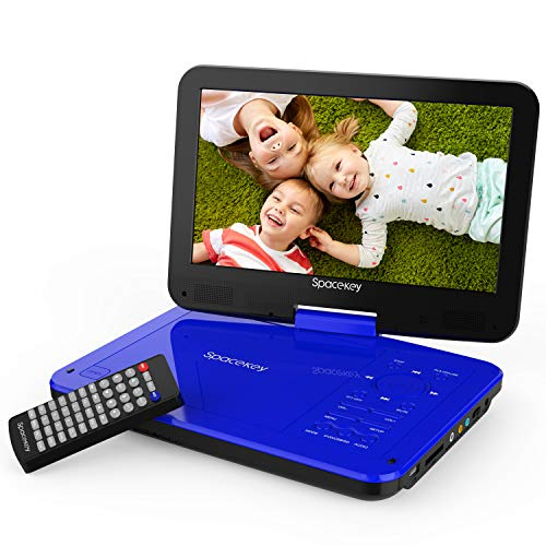 Spacekey Portable DVD Player 10 with 5 Hours Rechargeable Battery, Swivel Screen, Support USB/SD Slot and 1.8M Car Charger, Support Memory and Region Free (Blue)