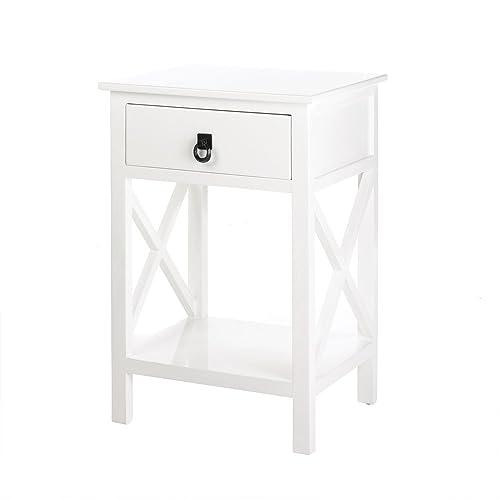 Koehler Home Decor White Glossy Side Table