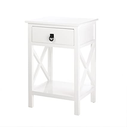 Amazon.com: Accent Plus White Side Tables Bedroom, Side Sofa Tables ...