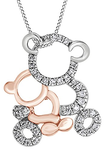 AFFY Round Cut White Cubic Zirconia Mom & Baby Teddy Bear Pendant Necklace in 14K White Gold Over Sterling Silver