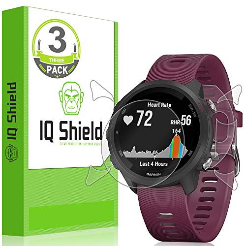 [3-Pack] IQ Shield LiQuidSkin Clear Full Body Skin + Full Coverage Screen Protector for Garmin Forerunner 245 HD Anti-Bubble TPU Film