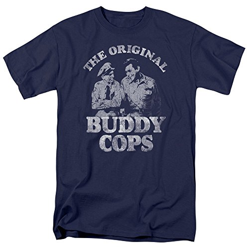 WickedTees Mens ANDY GRIFFITH Short Sleeve BUDDY COPS XLarge T-Shirt Tee Navy