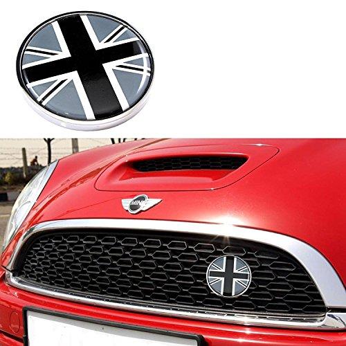 Black/Grey Front Grill Badge w/Holder Black UK Flag Fit All MINI Cooper R50 R55 R56 R57 R558 R60, 3 Inch