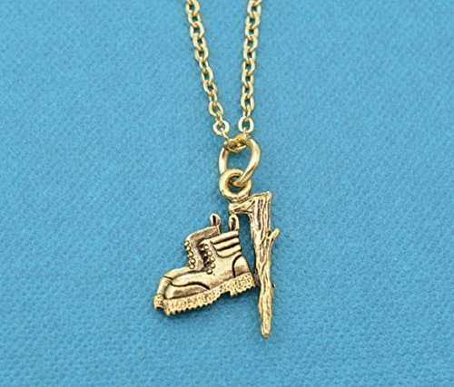 Hiking Boot necklace in 24K gold plated pewter Gift for hiker. Hiking gifts