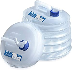 Collapsible Water Container,Premium Portable Emergency Storage Jug, Accordion Folding Bucket, Food Grade PET Water Carrier with Spigot for Camping Outdoors Hiking- BPA Free 3.9Gallon(15 L)