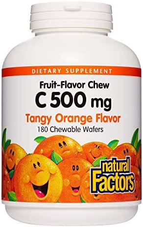 Natural Factors, Vitamin C 500 mg, Kids Chewable to Support Healthy Bones and Teeth, Tangy Orange, Vegan, Non-GMO, 180 wafers (180 servings)