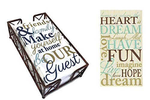 (Arched Aged Chestnut Caddy Guest Towel Holder with A Set Of 2 Packages of 16 ct each Warm Welcoming Message Designs Disposable Premium 2-ply Guest Towels Decorative Bathroom Napkins )