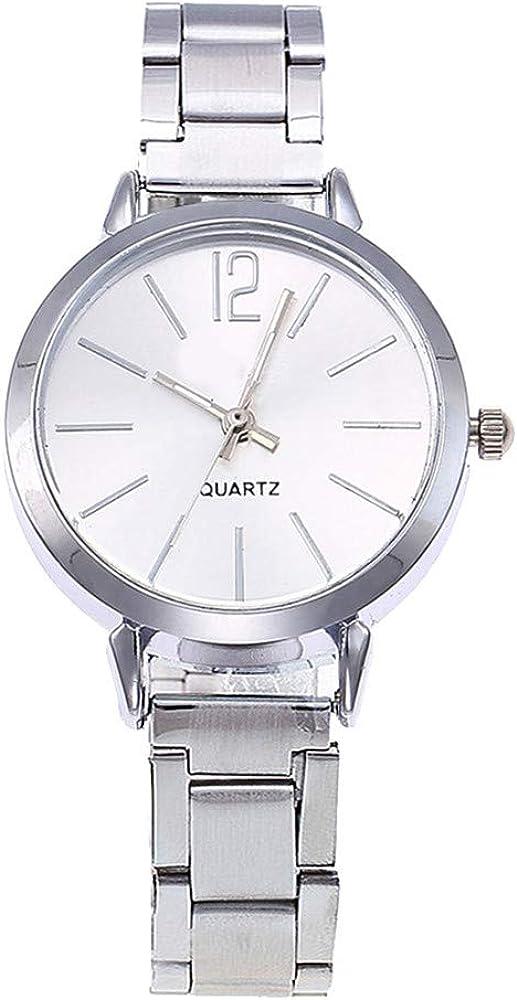 Leedy - Reloj de pulsera para mujer, cuarzo, clásico, informal, con cristal y cronógrafo, con correa de acero