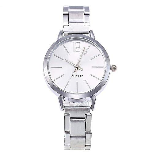 BBestseller Moda Simple Correa de Acero Reloj de señoras,Reloj de Pulsera de Cuarzo Ultrafino de Acero Watch Deportivo (Plata): Amazon.es: Relojes