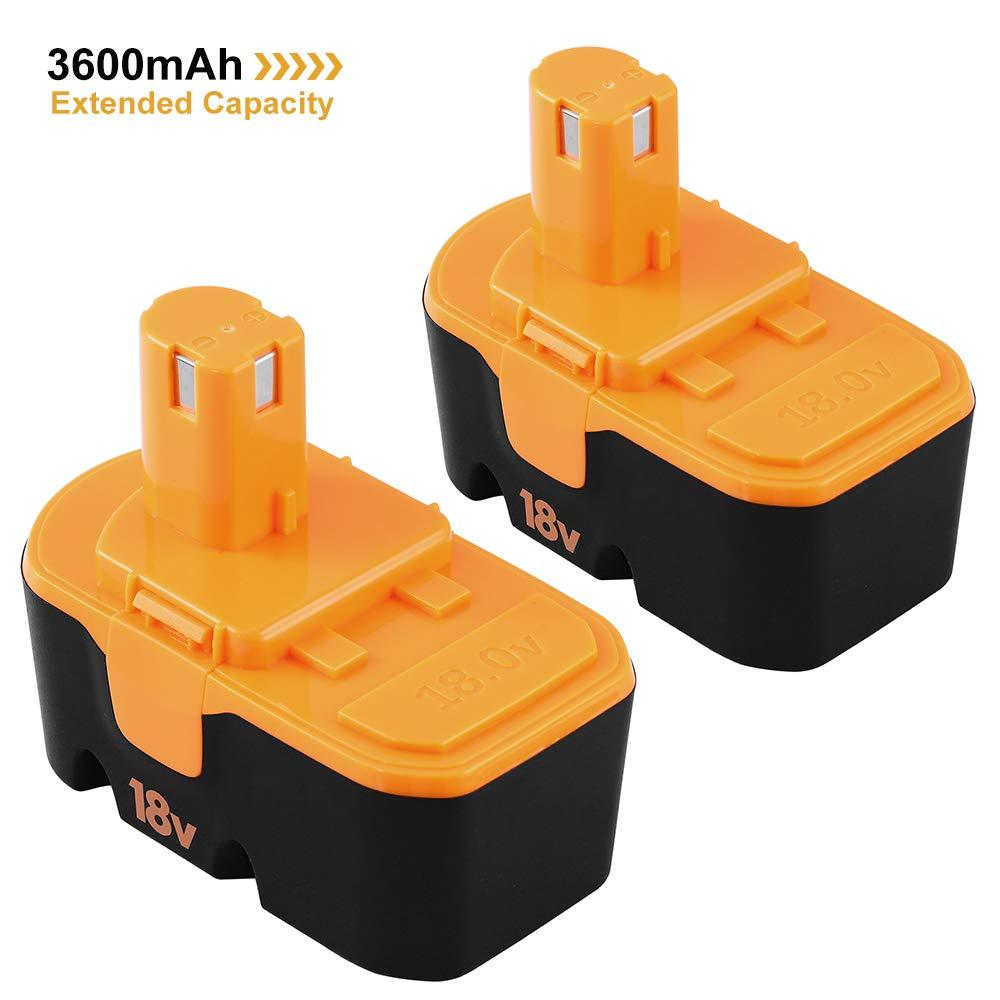 3600mAh Extended Capacity Battery for Ryobi 18V One+ Plus P100 P101 ABP1801 ABP1803 130224028 130224007 Cordless Power Tool 2Pack