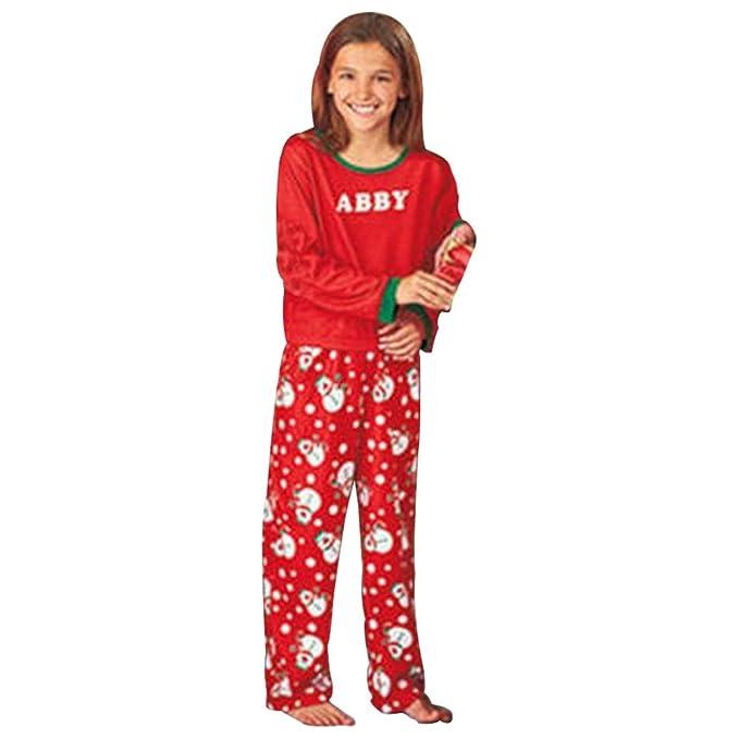 BOZEVON Familia Muñeco de Nieve Rojo Pijamas Navidad con Dos Piezas Top Manga Larga Pantalones: Amazon.es: Ropa y accesorios