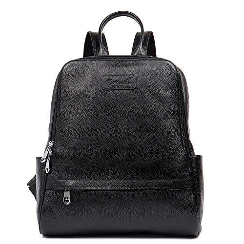 BOSTANTEN Genuine Leather Backpack Purse Fashion School Bags for Women Black Medium