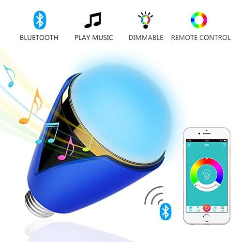 Christmas APP Remote Control Dimmable Bluetooth LED Light Bulb – Smartphone Remote Control Multicolored- 5W E27 Music Bulb Wireless Stereo Speaker for Halloween Parties and Christmas Time(Blue)