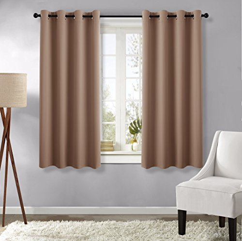 Kids Curtains Blackout Draperies for Window - (Cappuccino Color) 52-inch x 63-inch, Set of 2 Panels, Window Treatment Thermal Insulated Grommet Blackout Curtains by NICETOWN