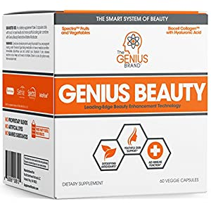 Genius Beauty – Hair Skin and Nails Vitamins + Detox Cleanse + Anti Aging Antioxidant Supplement, Collagen Pills w/Glutathione & Astaxanthin for Wrinkles, Hair Growth & Skin Whitening – 60 Capsules