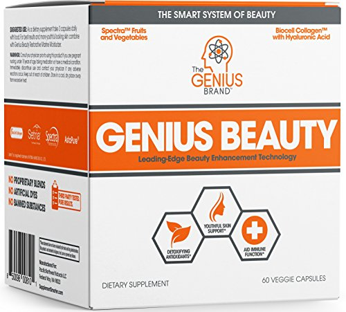 Genius Beauty - Hair Skin and Nails Vitamins + Detox Cleanse + Anti Aging Antioxidant Supplement, Collagen Pills w/Glutathione & Astaxanthin for Wrinkles, Hair Growth & Skin Whitening - 60 Capsules (Aging Nail Anti)