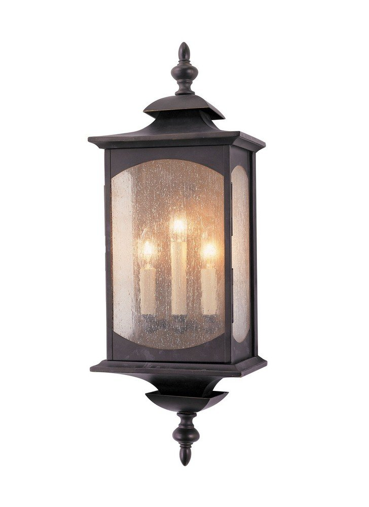 """Feiss OL2602ORB Market Square Outdoor Lighting Wall Pocket Sconce, Bronze, 3-Light (9""""W x 25""""H) 180watts"""