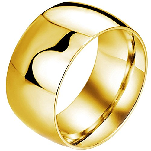 OUBEY Mens Womens Wide 11mm Stainless Steel Biker Rings Highly Polished Couples Wedding Bands Gold (Gold Band Wide)