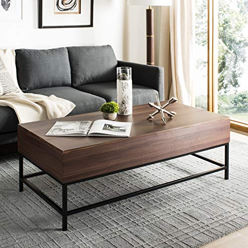 Safavieh FOX2239A Home Collection Tessa Antique Copper Heart Coffee Table, Dark Oak/Black Antique Oak Library Table