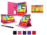 rooCASE Samsung Galaxy Note 10.1 2014 Case - Dual View Multi-Angle Stand Tablet (2014 Edition) Case with Ultra HD Plus Anti-Fingerprint / Self-Healing / Bubble Free Screen Protector - MAGENTA (With Auto Wake / Sleep Cover)