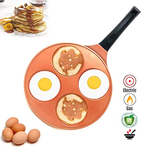 10 Inch Nonstick Ceramic PFOA Free Silver Dollar Pancake Fried Egg & Blini Pan with Bakelite Handle