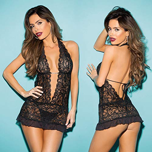 Hot 3 Piece Stretch Lace Gartered Chemise, Black, One Size, Shirley of Hollywood Lingerie ()