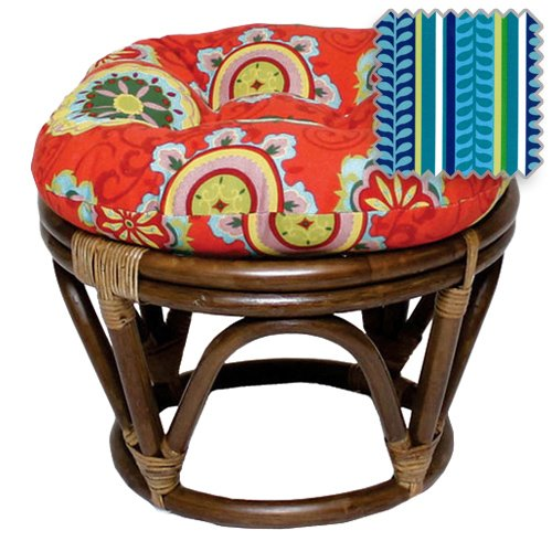18-Inch Bali Rattan Papasan Footstool with Cushion - Print Outdoor Fabric, Pike Azure - DCG Stores Exclusive