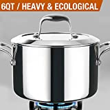 HOMI CHEF Mirror Polished NICKEL FREE Stainless Steel 6 QT(Quart) Stock Pot/Soup Pot with Glass Lid (No Toxic Non Stick Coating, Whole-Clad 3-Ply) - Cookware Pots And Pans Sets 10121