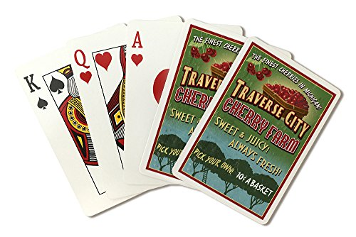 Traverse City, Michigan - Cherry Farm Vintage Sign (Playing Card Deck - 52 Card Poker Size with ()