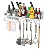 Kitchen Hanging Shelf w/ Towel Bar, 2 Utensil Holders, 6 Hooks & 4 Knife Storage Slots - MyGift