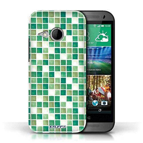Etui / Coque pour HTC One/1 Mini 2 / Vert/Blanc conception / Collection de Carreau Bain